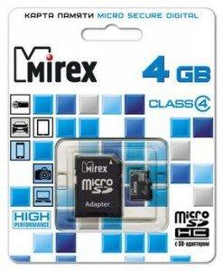 Купить Флэшка Micro SD 4GB Mirex MicroSD