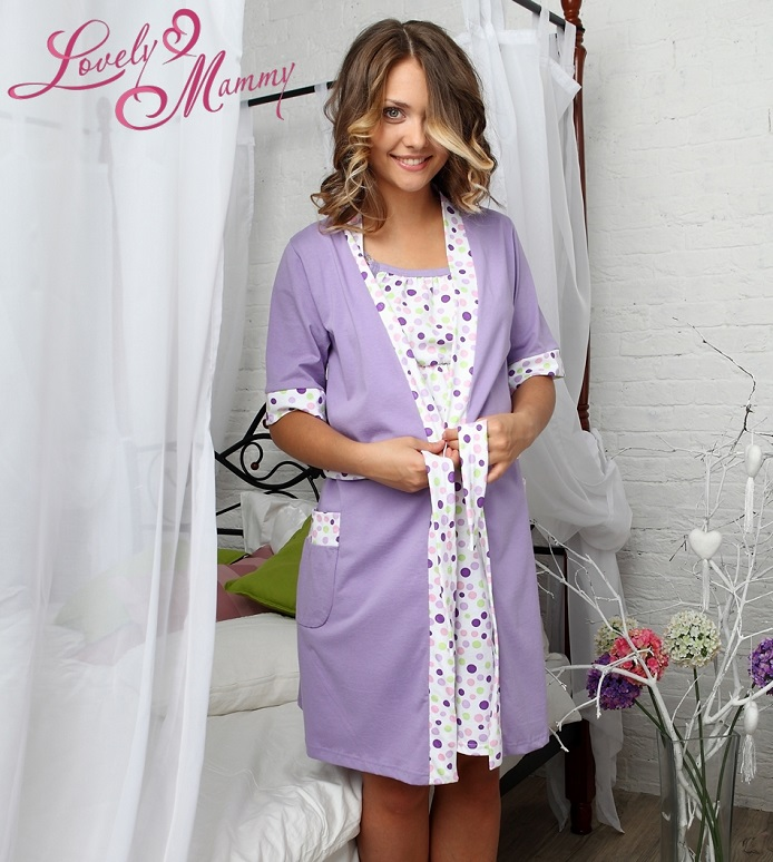 Jane set dressing gown and shirt (lilac) buy in Astana