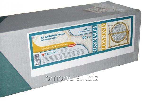 Купить Бумага рулонная 90g/m2,Мат 914mmx45,7m*50,8mm L1202112 для САПР A0 Lomond