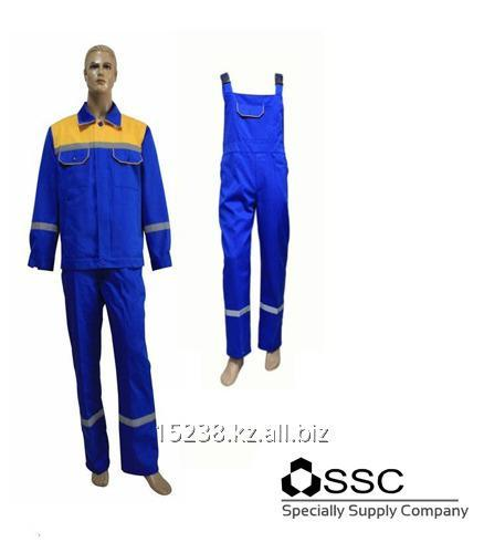 Buy Suit the worker of Ala Tau blue with the yellow coquette, with reflecting strips