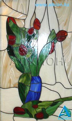 Купить Витраж в технике Тиффани - Тюльпаны