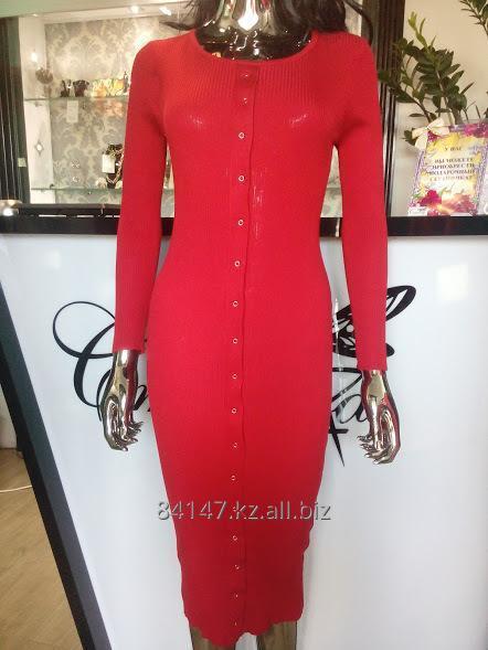 4d8ad726b744131 Вязаное платье лапша с пуговицами. купить в Алматы