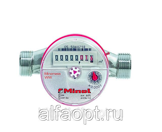 Счетчик воды СВГИ Миномесс, 90°C, DN 15, Qn 1,5, L 110 mm, с имп. (1L/Imp.), с присоед.