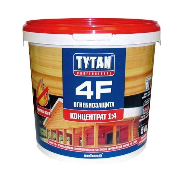 Огнебиозащита Tytan 4F , красная, 5 литров