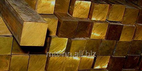 Купить Квадрат латунный 100 по ГОСТу 2060-2006, марка Л63, н.д., L = 3 м, L = 6 м