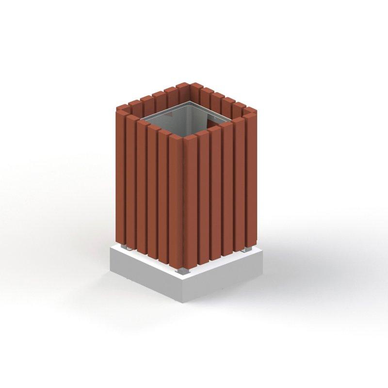 Урна деревянная на ж/б основании с металлической вставкой. 1311