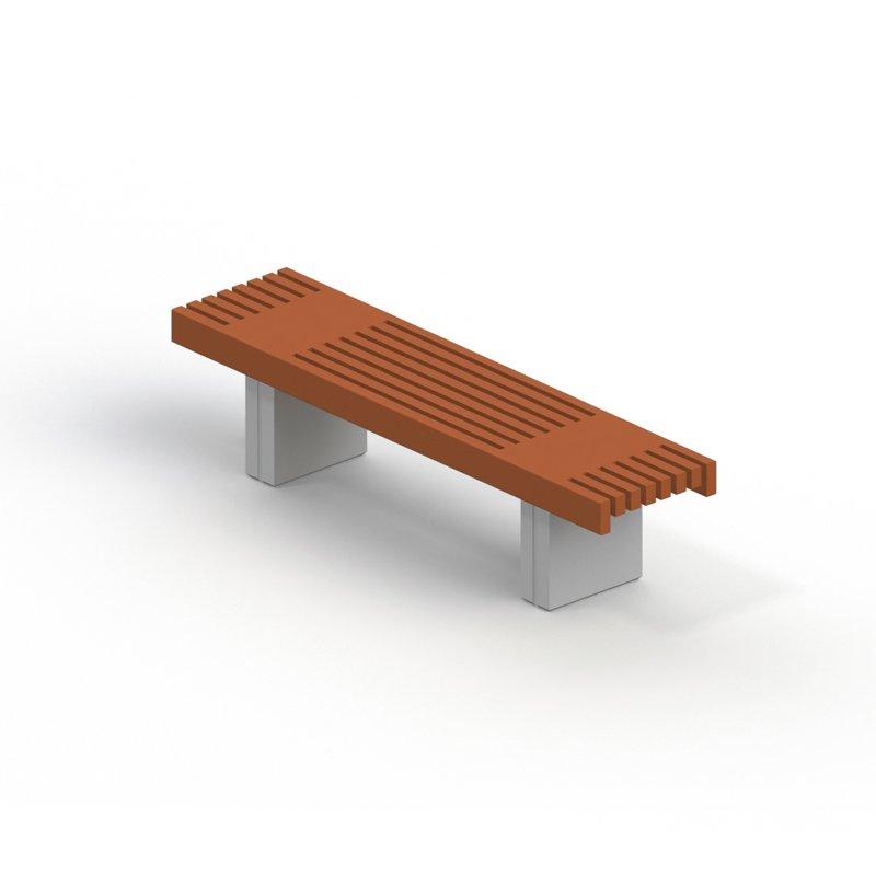 Скамья садово-парковая на железобетонных ножках 2102