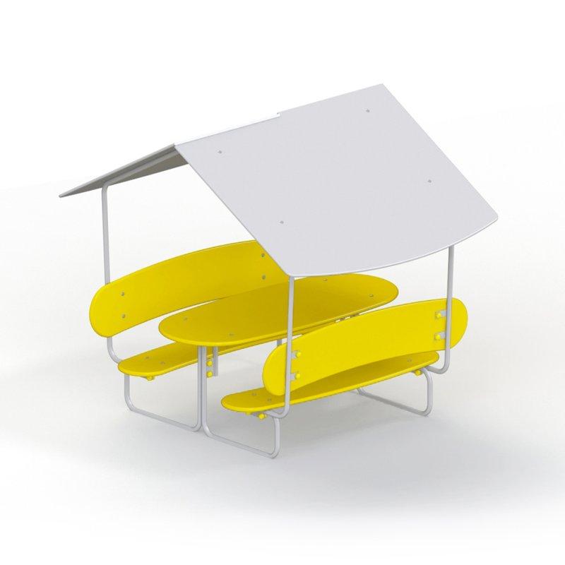Стол со скамьями и навесом детский 2603