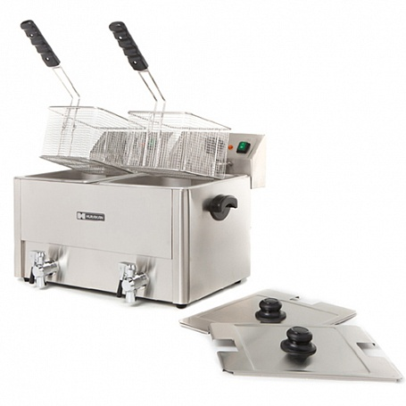 Buy HURAKAN HKN-FT88N deep fryer (605x465x380 mm, 2 coppers with a capacity of 8 l with covers, 2 baskets)