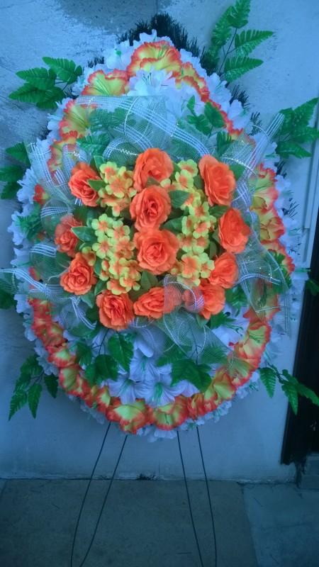 Buy Funeral wreath of artificial flowers model 18