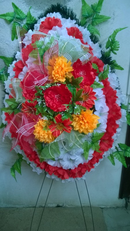 Buy Funeral wreath of artificial flowers model 20