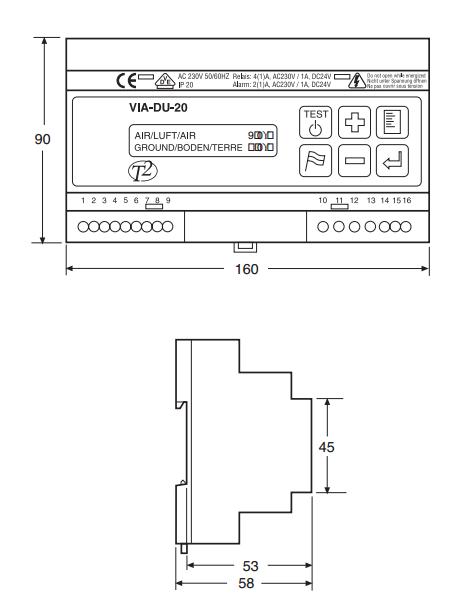 Блок управления с датчиком влажности и температуры VIA-DU-20
