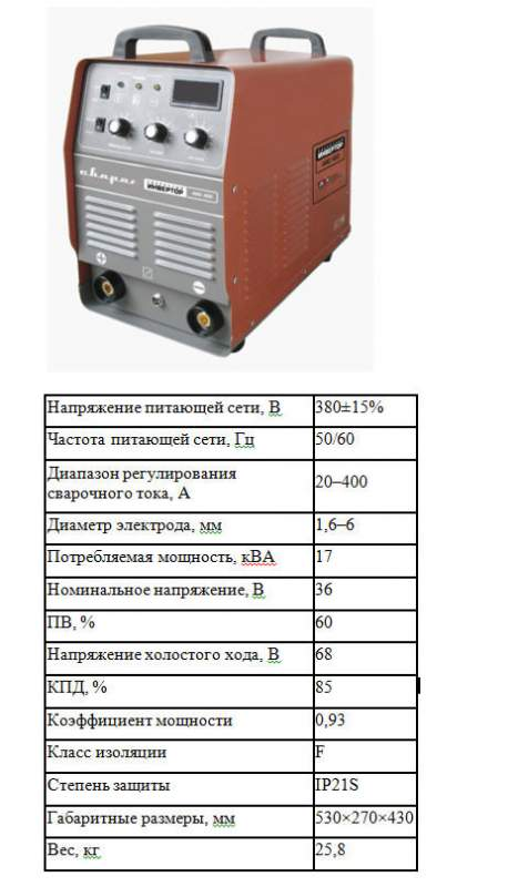 Аппараты сварочные инверторные, Инверторный аппарат ARC 400 (J45)