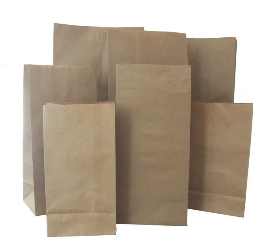 Бумажный мешок (белый, коричневый крафт) 34,5*9*50 плотность 80-78