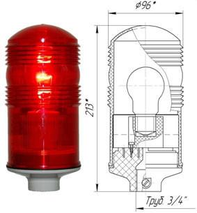 Заградительный огонь ЗОМ-40Вт>10cd, тип А, 220V AC, IP54.