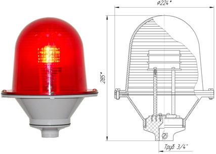 Заградительный огонь ЗОМ-80LED>32cd, тип Б, 30-265V AC/DC, IP54.