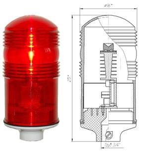 Заградительный огонь ЗОМ-2>10cd, тип А, 30-265V AC/DC, IP54.