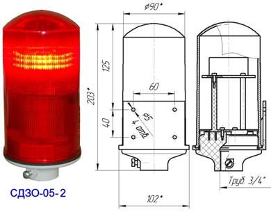 Заградительный огонь СДЗО-05-2>32cd, тип Б, 220V AC, IP54.