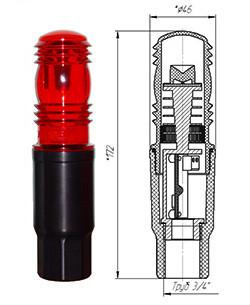 Заградительный огонь ЗОМ-1-АЛ >10cd, тип А, 30-265V AC/DC, IP65