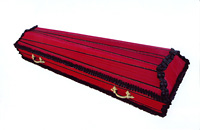 Coffins wooden, upholstered with fabric