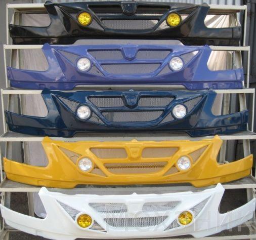 Бампер на Газель с 2003г.по2009г.Ауди цвет юниор,литая решетка,материал АБС-Пластик,