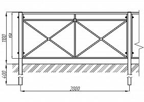 Купить Пешеходное ограждение ОПО-Д/С1-1,1-2,0