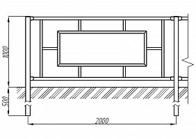Купить Пешеходное ограждение ОПО-Д/Т2-1,0-2,0