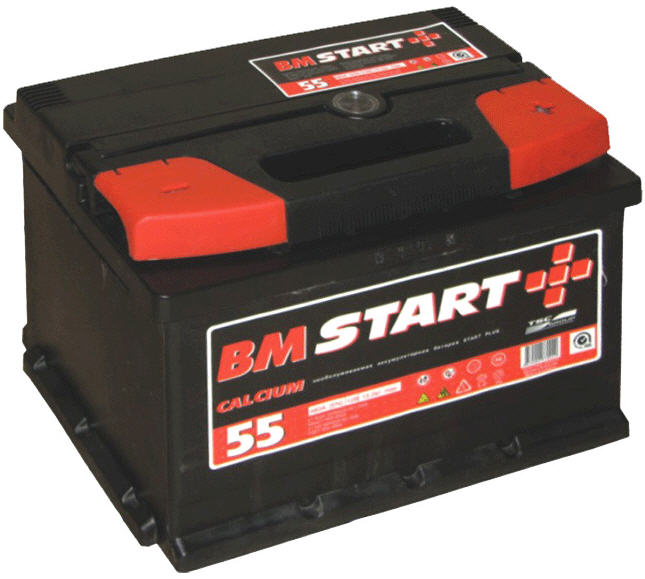 Батареи аккумуляторные свинцово-кальциевые стартерные 6CT - 55 (LR)