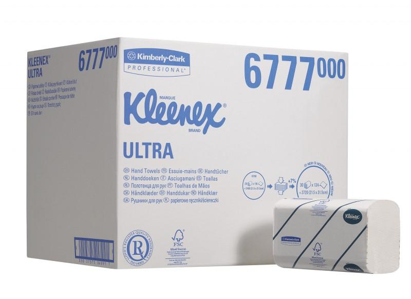 Бумажные полотенца в пачках KLEENEX® Ultra, двухслойные, большая упаковка, 30х124л 6777