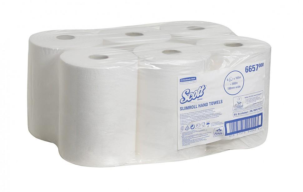 Бумажные полотенца в рулонах SCOTT®, однослойные, белые, 6х165м 6657