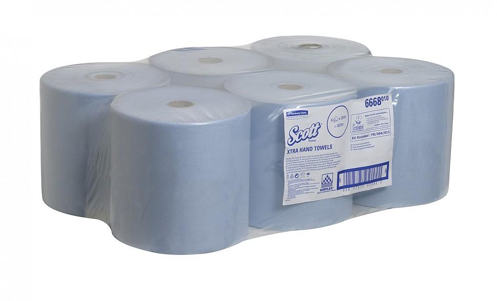 Бумажные полотенца в рулонах SCOTT®, однослойные, голубые, 6х304м 6668
