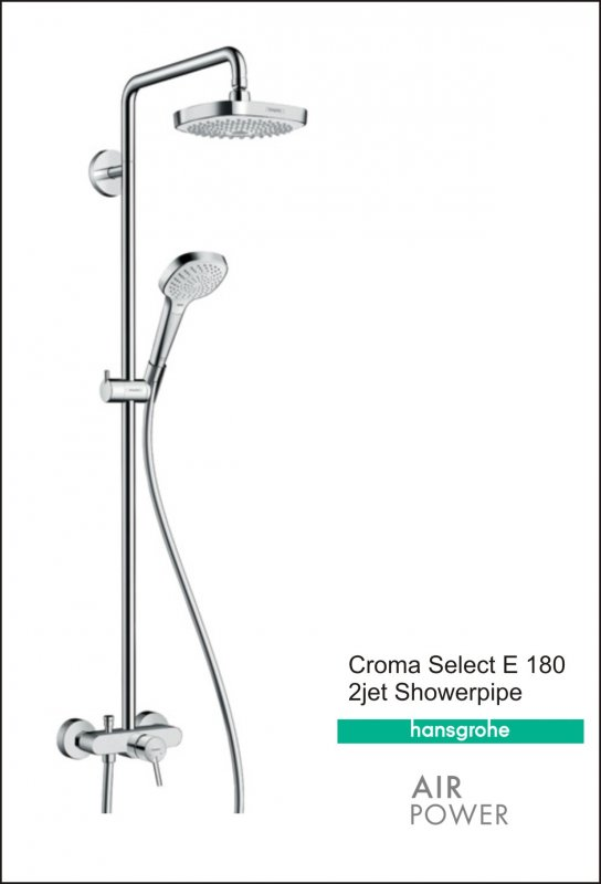 Hansgrohe Croma Select E 180 2jet Showerpipe buy in Almaty
