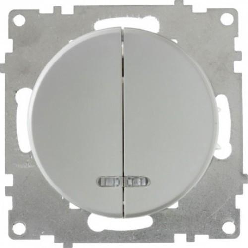 Выключатель двойной с подсветкой, цвет серый (серия Florence)
