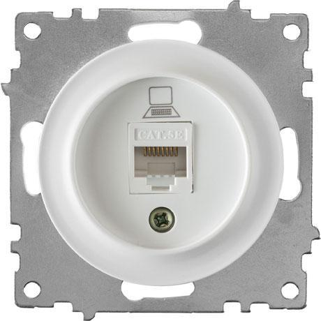 Розетка компьютерная 1xRJ45 кат.5e, цвет белый (серия Florence)