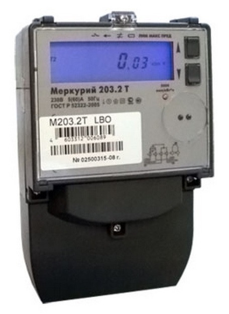 Счетчик электроэнергии однофазный многотарифный Меркурий 203.2T RBO