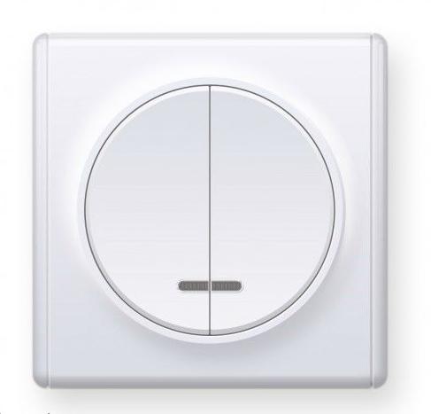 Выключатель двойной с подсветкой, цвет белый (серия Florence)