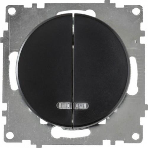 Выключатель двойной с подсветкой, цвет чёрный (серия Florence)