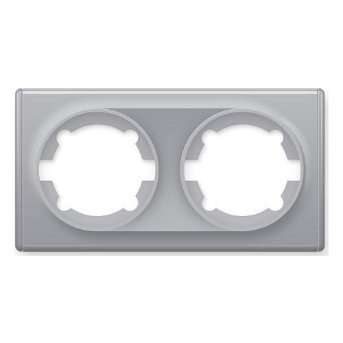 Рамка двойная, цвет серый (серия Florence)