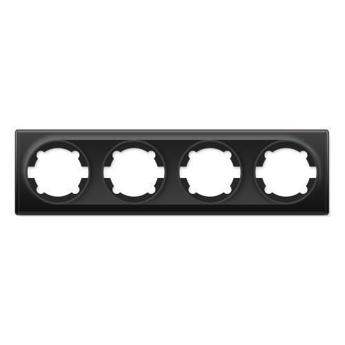 Рамка на 4 прибора, цвет чёрный (серия Florence)