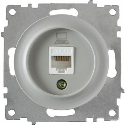 Розетка компьютерная 1xRJ45 кат.5e, цвет серый (серия Florence)