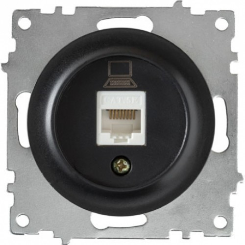 Розетка компьютерная 1xRJ45 кат.5e, цвет чёрный (серия Florence)