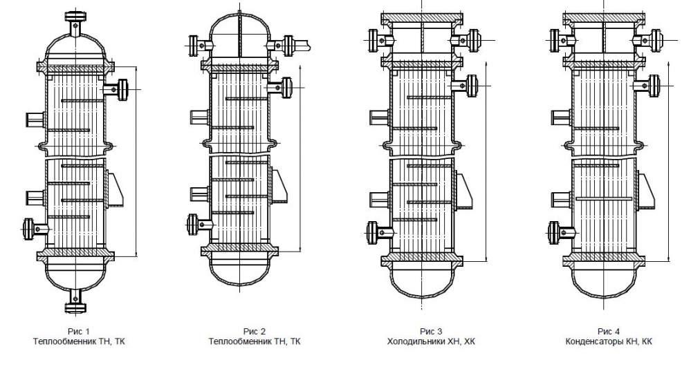 Аппараты теплообменные кожухотрубчатые с неподвижными трубными решетками и кожухотрубчатые с температурным компенсатором на кожухе диаметром 400, 600 и 800 по ТУ 26-02-1090-88