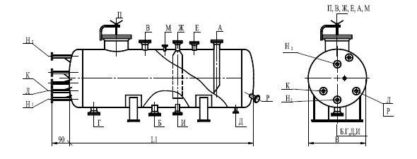 Аппарат емкостной цилиндрический жидких углеводородных сред на опорах по ТУ 26-18-35-89