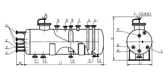 Аппарат емкостной цилиндрический для жидких углеводородных сред с установкой на железобетонный постамент по ТУ 26-18-35-89 тиП 1