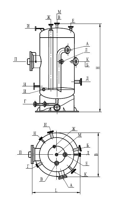 Аппарат емкостной вертикальный для жидких углеводородных сред по ТУ 26-18-35-89 тип 2