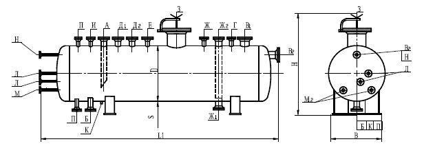 Сосуд цилиндрический горизонтальный для сжиженного пропана типа ПС ПО ОСТ 26-02-2080-84