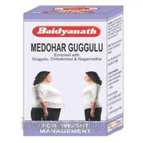 Медохар Гуггул (Medohar Guggulu, Baidyanath), контролирует уровень холестерина, и стимулирует общий метаболизм организма