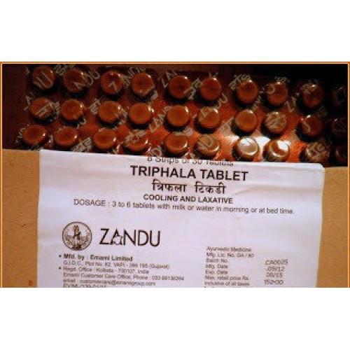 Трифала Занду в таблетках - очищение и омоложение, ZANDU, 30 таб. Активизирует механизмы детоксикации печени, тонкого кишечника, почек, кожи, легких