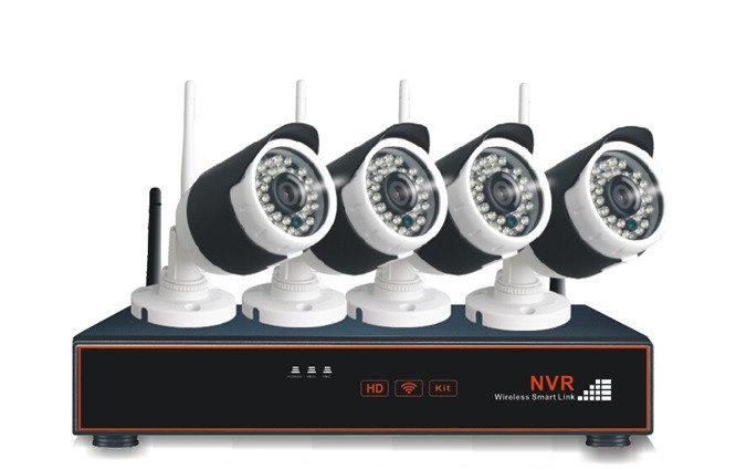 Купить Беспроводной NVR комплект видеонаблюдения на 4 камеры 1.0Mp