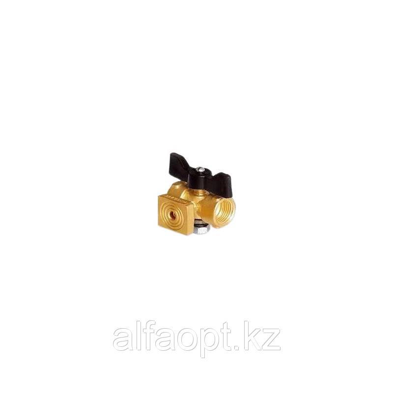 Кран латунный 3-х ходовый п/манометр 11Б18/38бк Ду 15 муфта-М 20 фланцевый с ручкой